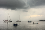 Dark Storm Clouds over Boats in Gosport Harbor, Isles of Shoals, View from Rye, NH out to Appledore Island, Kittery, ME