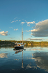 "Reflections of Clouds and Gaff-rigged Cutter Sailboat ""Sorceress"" at The Basin in Late Evening Light, Phippsburg, ME"