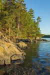 Late Evening Light Shines on Rocky Shoreline of Georgetown Island, Robinhood Cove off Sasanoa River, Georgetown, ME
