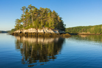 Reflections in Early Morning Light of Georgetown Island in Robinhood Cove off Sasanoa River, Georgetown, ME