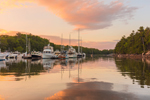Sunset over Boats at Dock at Great Island Boat Yard, Orrs Cove, Harpswell, ME