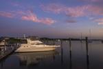 Power Boat at Dock in Great Salt Pond at Predawn, Block Island, RI