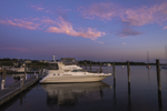 Power Boat at Dock in Great Salt Pond at Predawn, Block Island, RI