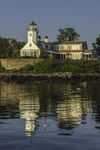 Poplar Point Lighthouse with Reflections in Early Morning Light, Wickford Harbor, Village of Wickford, North Kingstown, RI
