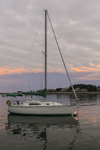 Sunset over Sailboat in Scituate Harbor, South Shore, Scituate, MA