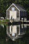 Wooden Boathouse Reflecting in Lake Tashmoo, Vineyard Haven, Martha's Vineyard, Tisbury, MA