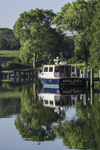 "Reflections of Motor Boat ""Saving Grace"" on Lake Tashmoo, Martha's Vineyard, Tisbury, MA"