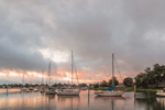Sunrise over Boats in Wickford Harbor, Village of Wickford, North Kingstown, RI