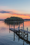 Pier at Sunrise at Point Judith Pond with Gardner Island in Background, South Kingstown, RI