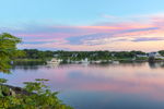 Sunrise over Boats in Turner Cove, Point Judith Pond, South Kingstown, RI