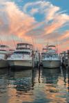 Sport Fishing Boats at Sunset, Montauk Harbor at Montauk Yacht Club, Star Island, Long Island, Village of Montauk, East Hampton, NY