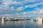 Boats at Dock on Calm Summer Day in Montauk Harbor at Montauk Yacht Club, Star Island, Long Island, Village of Montauk, East Hampton, NY