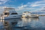 Power Boats at Dock in Montauk Harbor at Montauk Yacht Club, Star Island, Long Island, Village of Montauk, East Hampton, NY