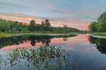 Sunset over Tributary of Millers River in Birch Hill Recreation Area, Royalston, MA