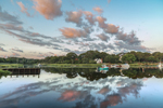 Cloud Reflections and Boats in Mattituck Inlet at Sunrise, off Long Island Sound, Village of Mattituck, Southold, NY