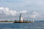 Saybrook Breakwater Light with Lynde Point Lighthouse in Background, Long Island Sound and Connecticut River, Old Saybrook, CT