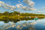 Cloud Reflections and Boats in Mattituck Inlet in Early Morning Light, off Long Island Sound, Village of Mattituck, Southold, NY