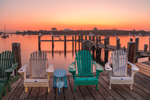 Adirondack Chairs on Payne's Dock at Sunrise, Great Salt Pond and New Harbor, Block Island, RI