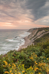 Sunset over Mohegan Bluffs and Atlantic Ocean, Block Island, RI