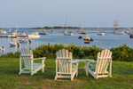 Adirondack Chairs Overlooking Great Salt Pond and New Harbor, Block Island, RI
