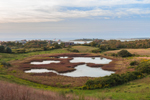 Overview of Small Ponds with Coast Guard Station and Block Island Sound in the Distance, Block Island, RI