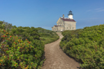 North Lighthouse with Path Bordered by Rose Hips at Sandy Point, Block Island, RI