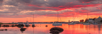 Sunset over Pine Island Bay and Avery Point, off Fishers Island Sound, Groton, CT