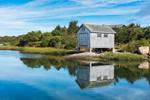 Boat House Reflecting in Nashaquitsa Pond, Martha's Vineyard, Chilmark, MA
