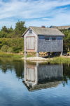 Boat House Reflecting in Nashaquitsa Pond, Martha's Vineyard, Chilmark, MA