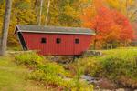 Red Covered Bridge Spanning Kent Falls Brook in Autumn, Kent Falls State Park, Kent, CT