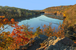 Early Morning Light Shines on Lillinonah Lake on Housatonic River in Fall, Lover's Leap State Park, New Milford, CT