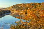 Early Morning Light and Ground Fog on Lillinonah Lake on Housatonic River in Fall, Lover's Leap State Park, New Milford, CT
