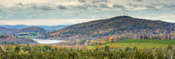 Mudge Pond Nestled in Rolling Hills and Meadows in Fall, Salisbury, CT
