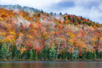 Early Morning Fog on Colorful Mountainside at Balfour Lake in Autumn, Adirondack Park, Minerva, NY