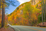 High Peaks Scenic Byway at Giant Mountain in Autumn, Adirondack Park, near Keene Valley, NY