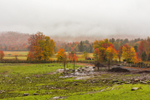 Rural Farmland on Foggy Morning in Fall, Adirondack Park, North Hudson, NY