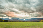 Sunset over Grassy Fields with Adirondack Mountains in Background, High Peaks Wilderness Area, Adirondack Park, North Elba, NY