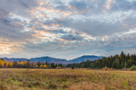 Early Morning Light over Fields and Adirondack Mountains in Fall, High Peaks Wilderness Area, Adirondack Park, North Elba, NY