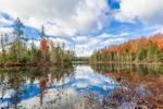 Lake Abanakee Reflections in Autumn, Adirondack Park, Indian Lake, NY