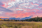 Sunrise over Fields and Adirondack Mountains in Fall, High Peaks Wilderness Area, Adirondack Park, North Elba, NY