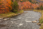 West Branch Ausable River at Moss Cliff in Autumn, Olympic Scenic Byway, Adirondack Park, near Lake Placid, NY