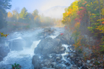 Early Morning Light Shines through Fog at The Flume Falls on West Branch Ausable River in Fall, Olympic Scenic Byway, Adirondack Park, Wilmington, NY