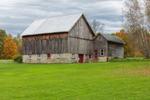 Natural Wood Barn with Stone Foundation in Fall, Trenton, NY