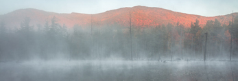 First Light Shines through Fog on Mountains Reflecting in Beaver Pond off West Branch Ausable River in Fall, Olympic Scenic Byway, Adirondack Park, Wilmington, NY