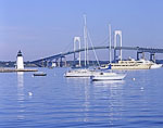 Newport Harbor and Bridge and Goat Island Light