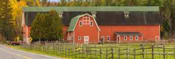 Big Red Barn at Woodlea Farms, High Peaks Area, Adirondack Park, near Lake Placid, NY
