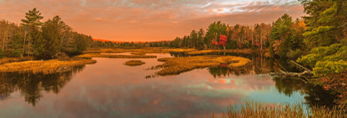 Sunrise over Marshes and Middle Branch Moose River, Central Adirondack Trail Scenic Byway, Adirondack Park, Old Forge and Thendara, NY