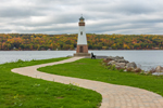 Myers Point Light at Myers Park on Cayuga Lake in Fall, Finger Lakes Region, Lansing, NY