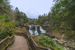 Blackwater Falls on Blackwater River with Wooden Boardwalk, Blackwater Falls State Park, Davis, WV