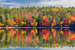 Brilliant Fall Foliage with Reflections along Shoreline of Fitchburg Reservoir, Ashby, MA